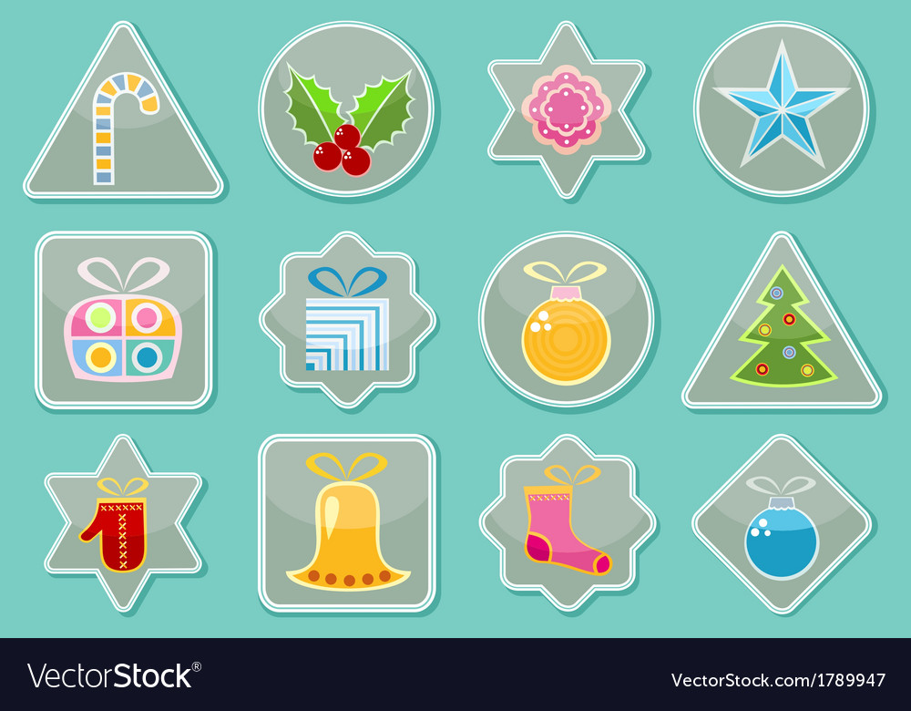 Stickers with christmas items vector