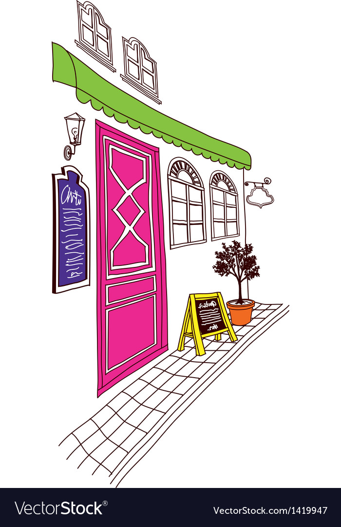 Street cafe front sketch vector | Price: 1 Credit (USD $1)