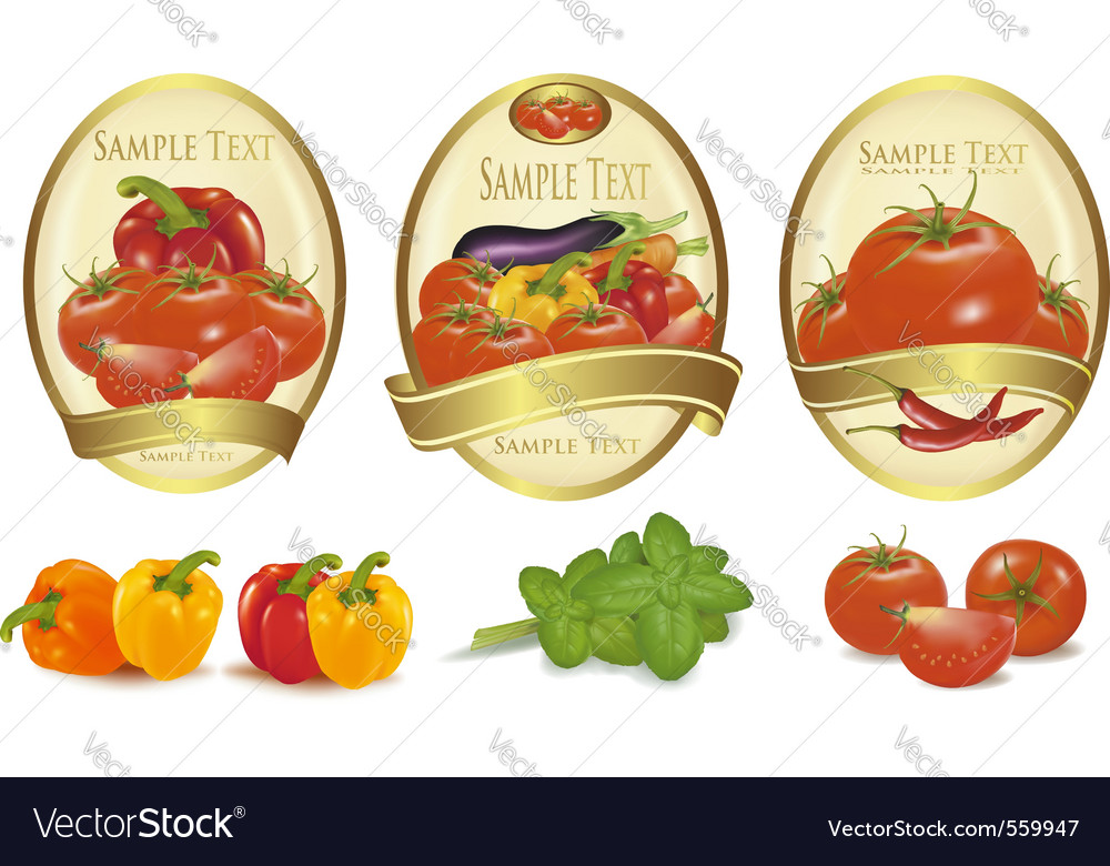 Three gold labels vector | Price: 3 Credit (USD $3)