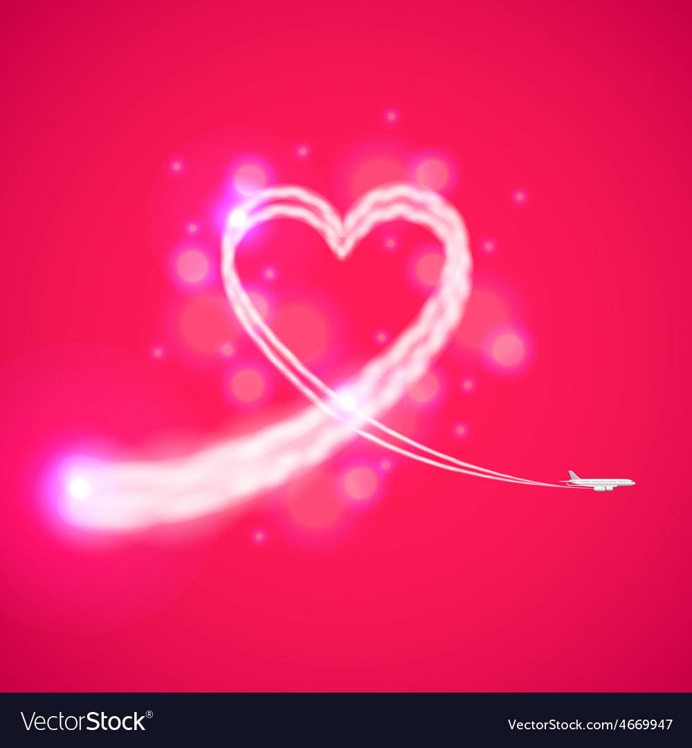 Trail of plane like heart background vector | Price: 1 Credit (USD $1)