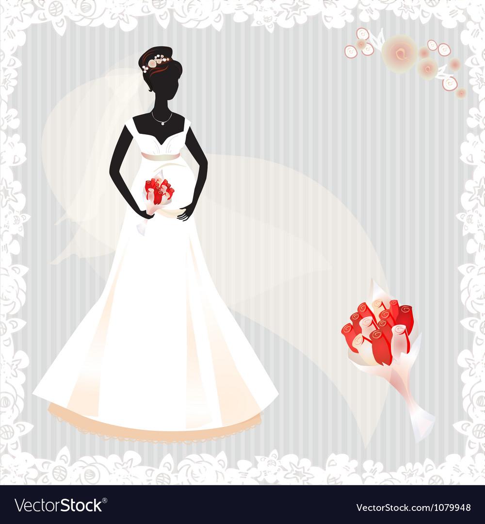 Beautiful pregnant bride silhouette vector | Price: 1 Credit (USD $1)