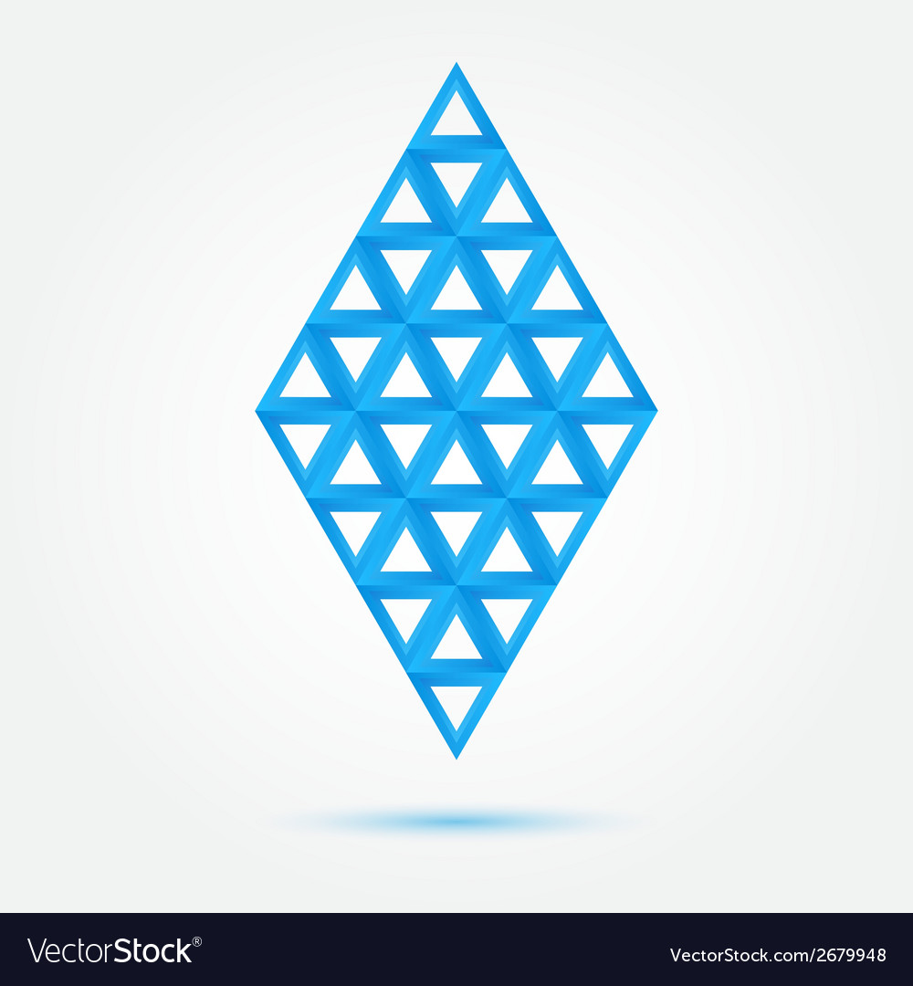 Blue symbol made of triangles - abstract rhombus vector | Price: 1 Credit (USD $1)
