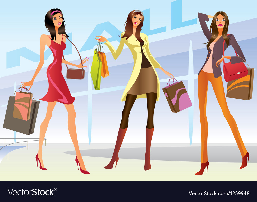 Fashion shopping girls vector | Price: 5 Credit (USD $5)
