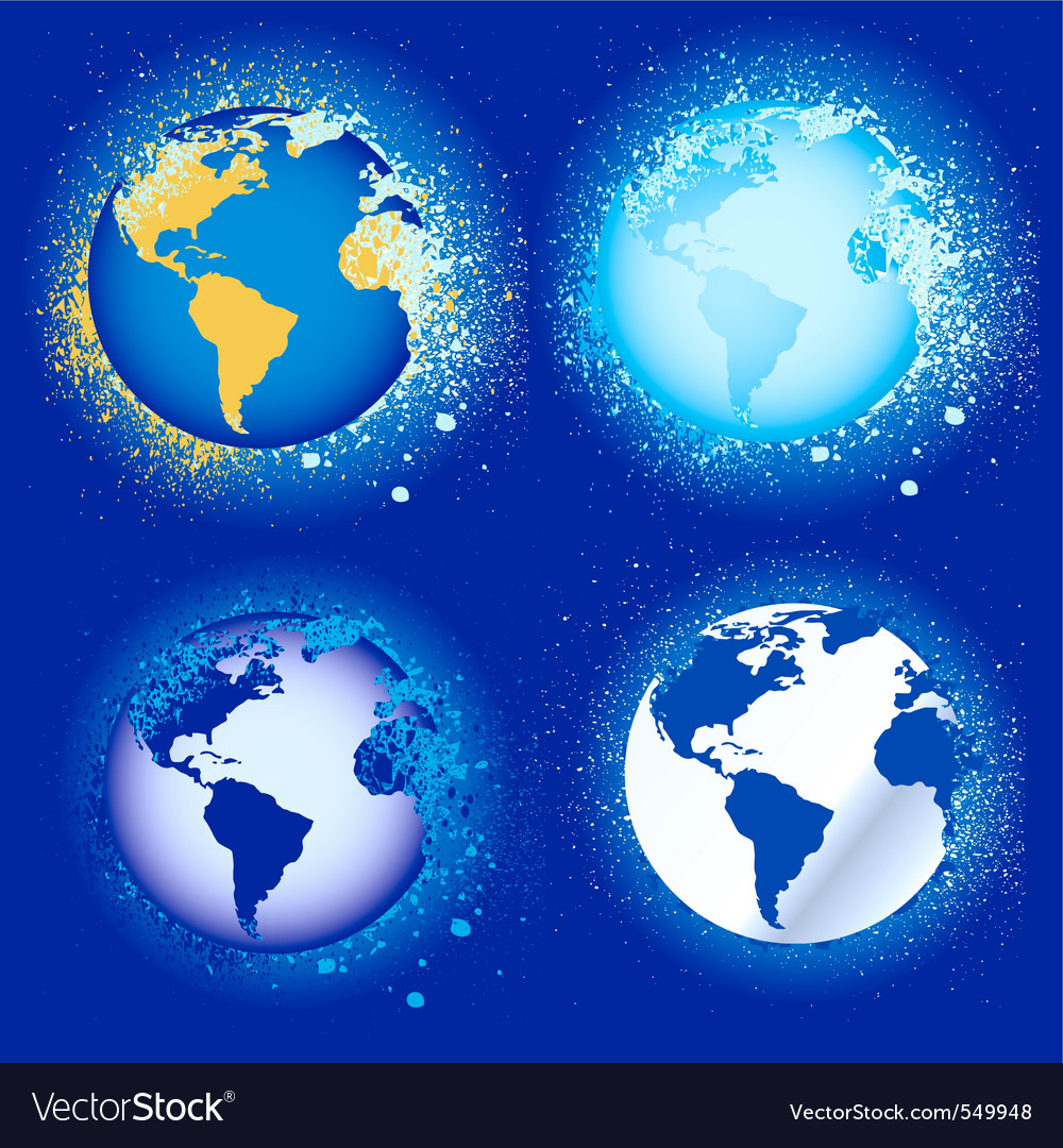 Splatter globes vector | Price: 1 Credit (USD $1)