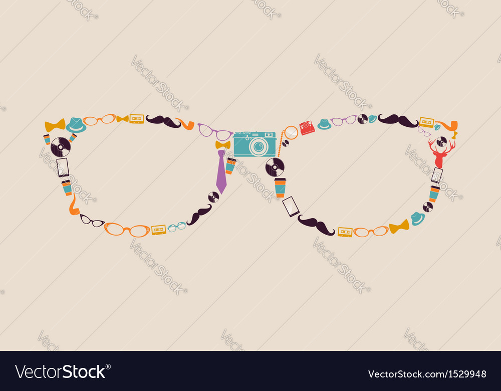 Vintage hipsters icons glasses vector | Price: 1 Credit (USD $1)