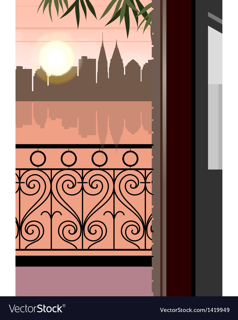 Balcony city sunset view vector | Price: 1 Credit (USD $1)