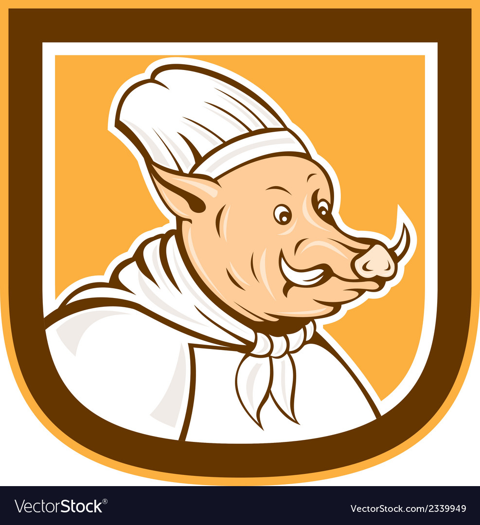 Boar chef cook shield cartoon vector | Price: 1 Credit (USD $1)
