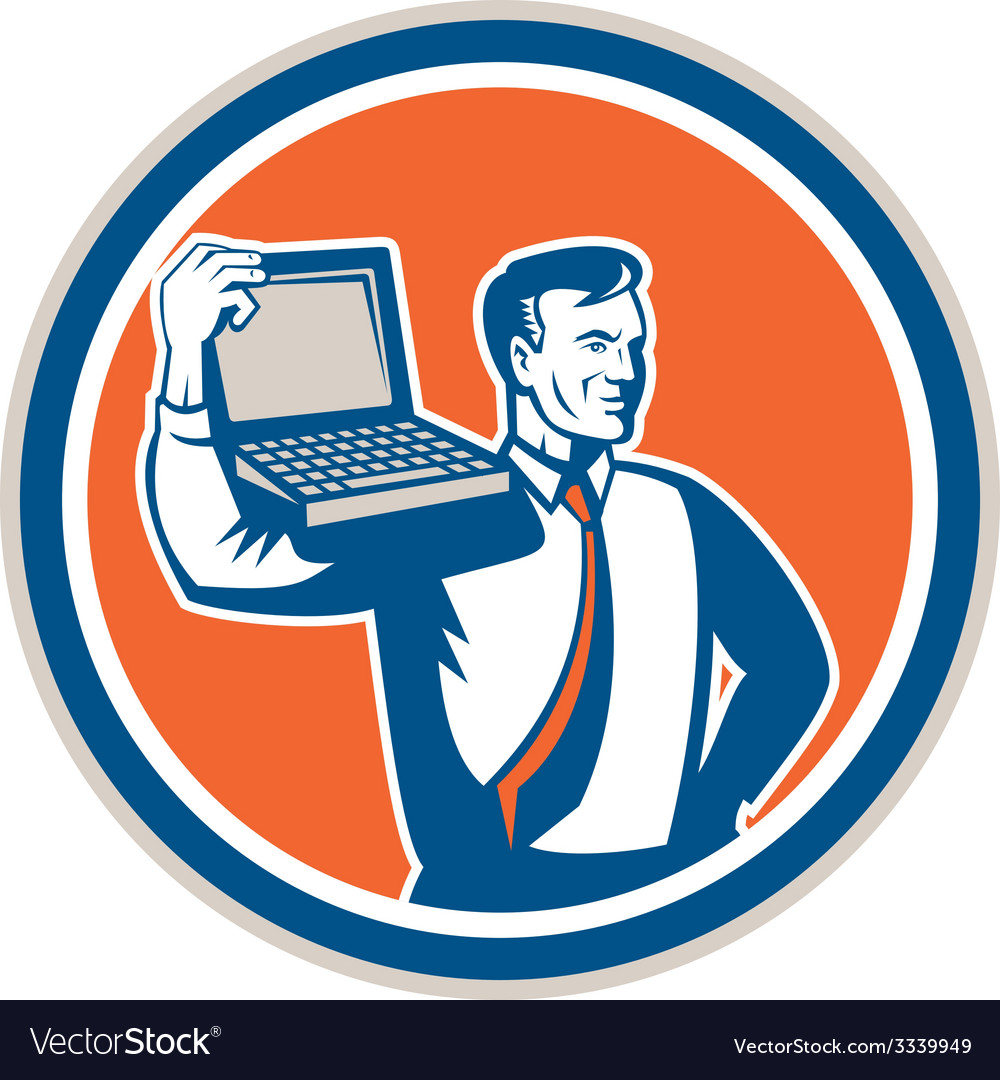 Computer geek technician laptop circle retro vector | Price: 1 Credit (USD $1)