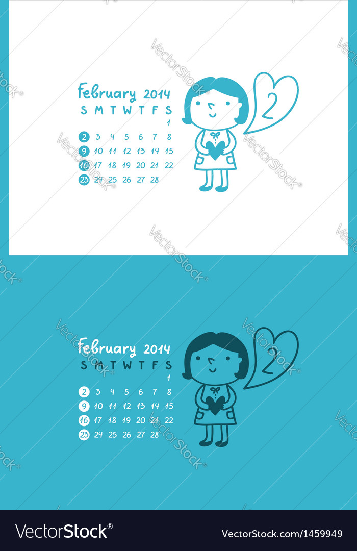 February 2014 vector | Price: 1 Credit (USD $1)