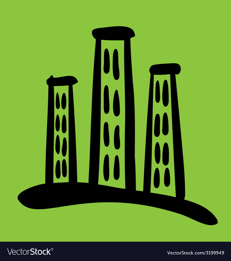 High riser house sketch on green background vector   Price: 1 Credit (USD $1)