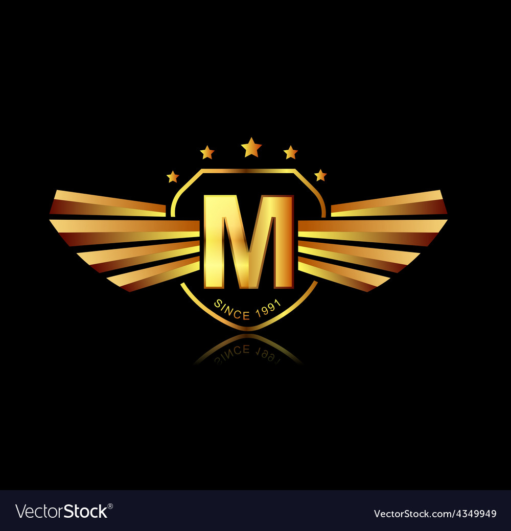 Letter m winged crests logo alphabet logotype vector | Price: 1 Credit (USD $1)