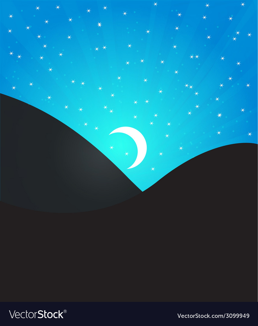 Night landcape with moon and stars vector | Price: 1 Credit (USD $1)