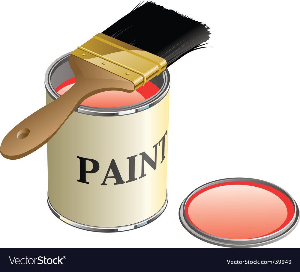 Paint can and brush vector | Price: 1 Credit (USD $1)