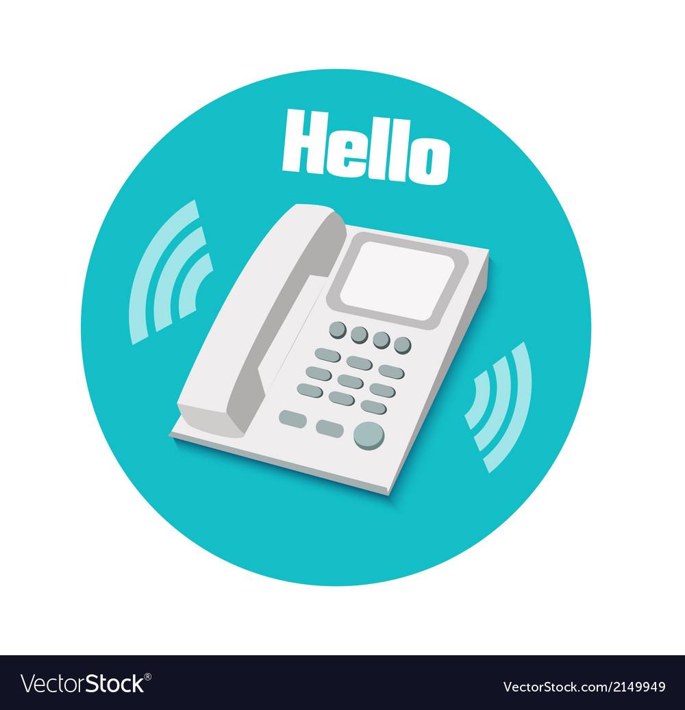 Phone in flat design landline phone vector | Price: 1 Credit (USD $1)