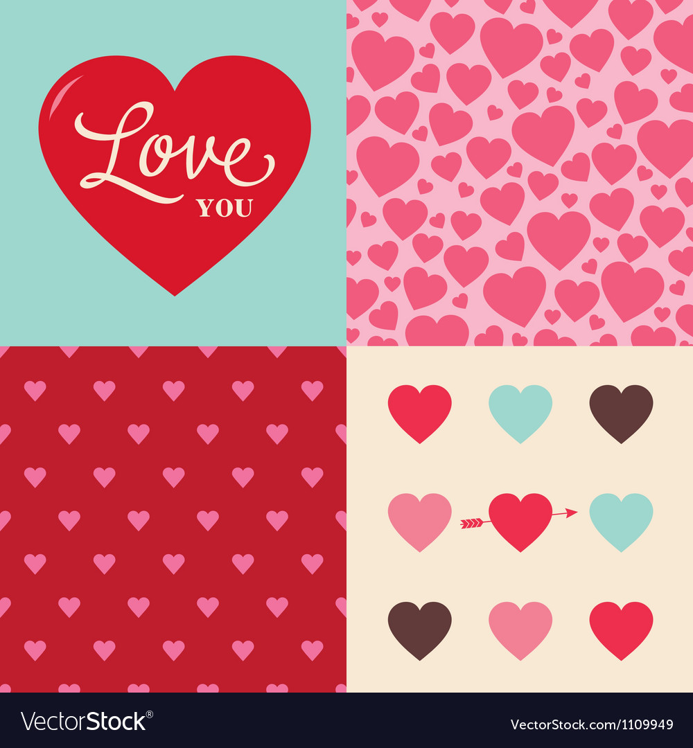 Set of heart pattern background for valentines day vector | Price: 1 Credit (USD $1)