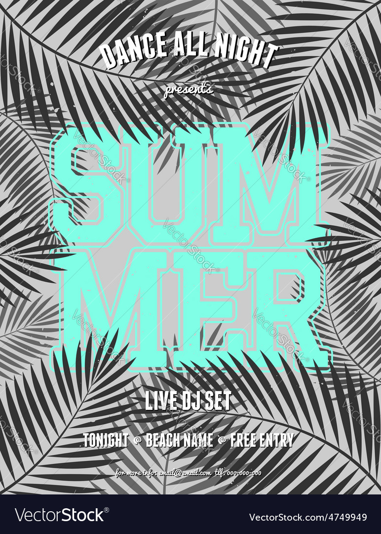 Summer party palm leaves neon blue text flyer vector | Price: 1 Credit (USD $1)