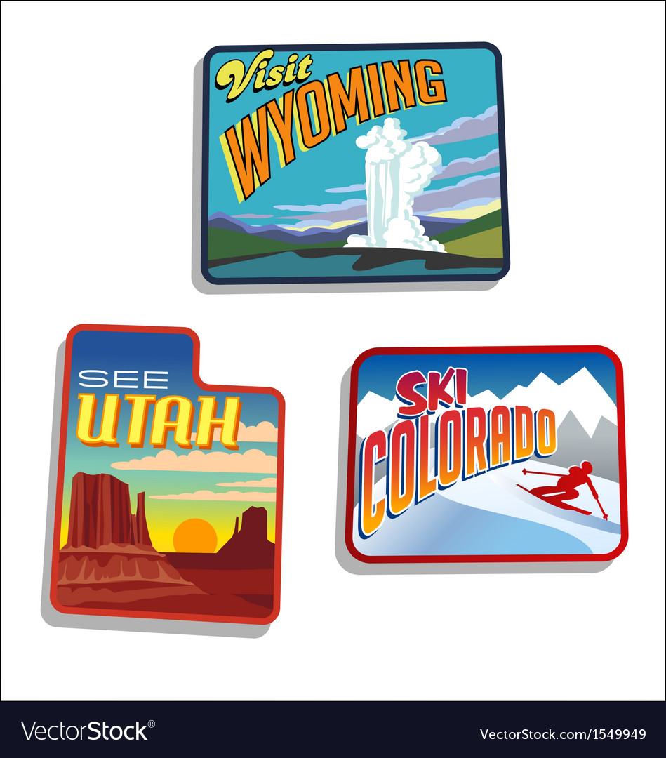 Utah colorado wyoming retro vector | Price: 3 Credit (USD $3)