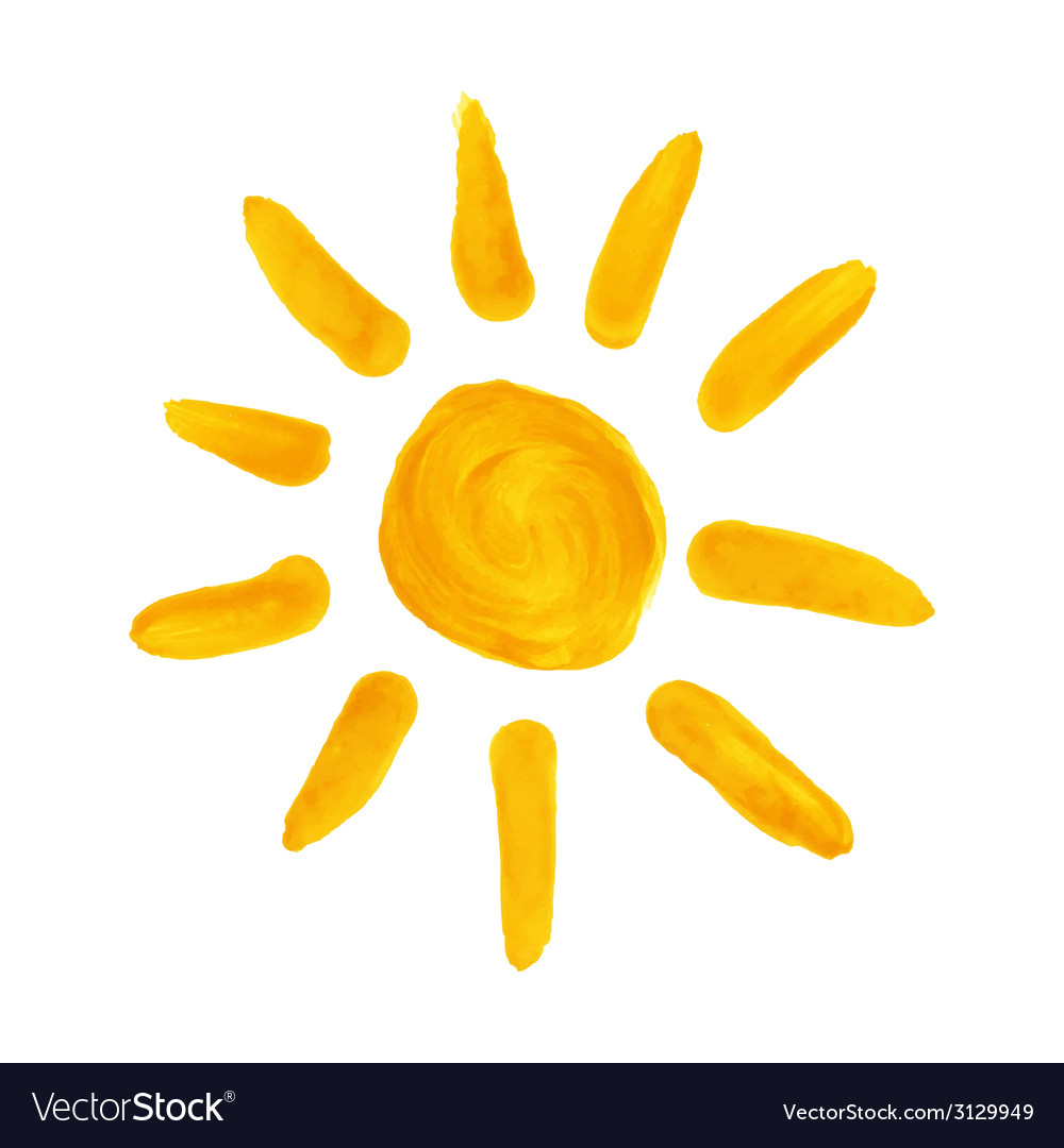 Watercolor sun vector | Price: 1 Credit (USD $1)