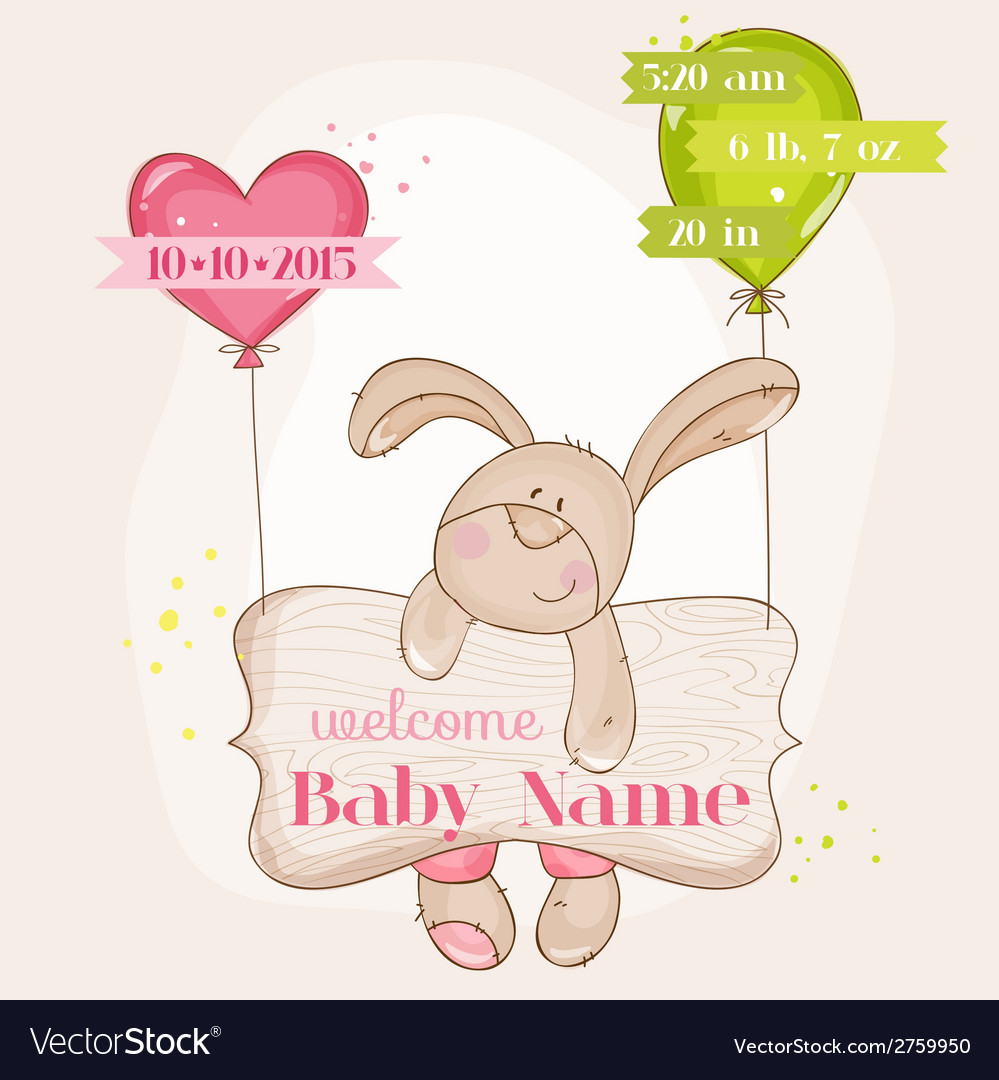 Baby girl arrival card - with cute baby bunny vector | Price: 1 Credit (USD $1)