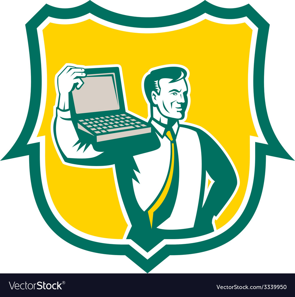 Computer geek technician laptop shield retro vector | Price: 1 Credit (USD $1)