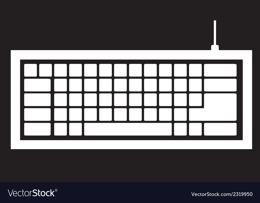 Computer keyboard silhouette isolated on black bac vector | Price: 1 Credit (USD $1)