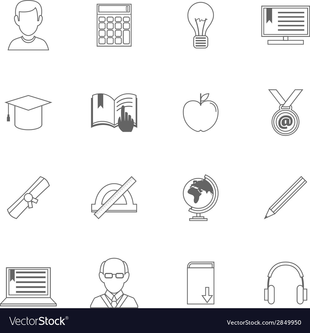 Education outline icons vector | Price: 1 Credit (USD $1)
