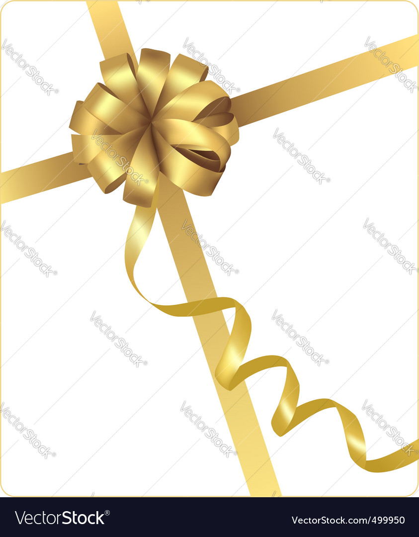 Gold beauty bow with ribbon vector | Price: 1 Credit (USD $1)