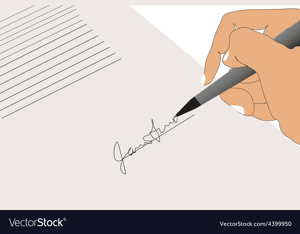 Hand sign contract vector | Price: 3 Credit (USD $3)