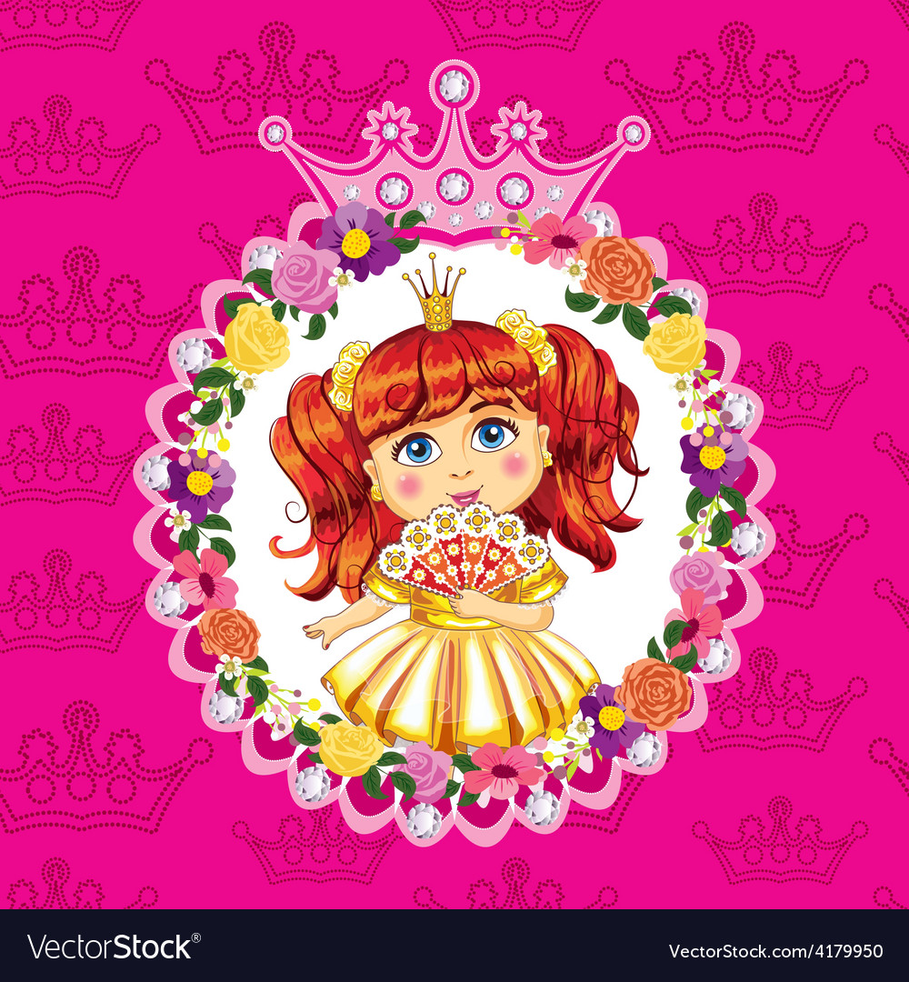 Little princess red hair on a pink background vector | Price: 3 Credit (USD $3)
