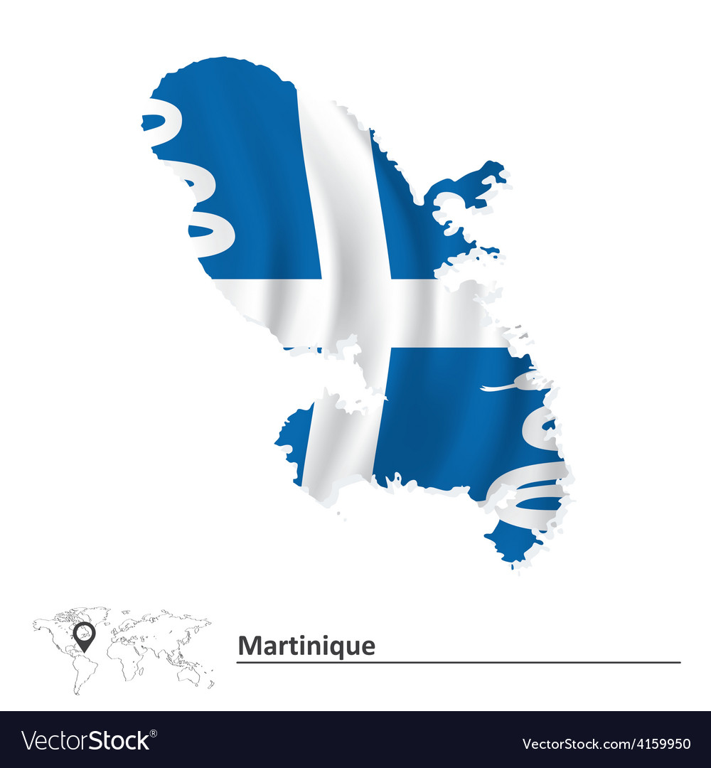 Map of martinique with flag vector | Price: 1 Credit (USD $1)