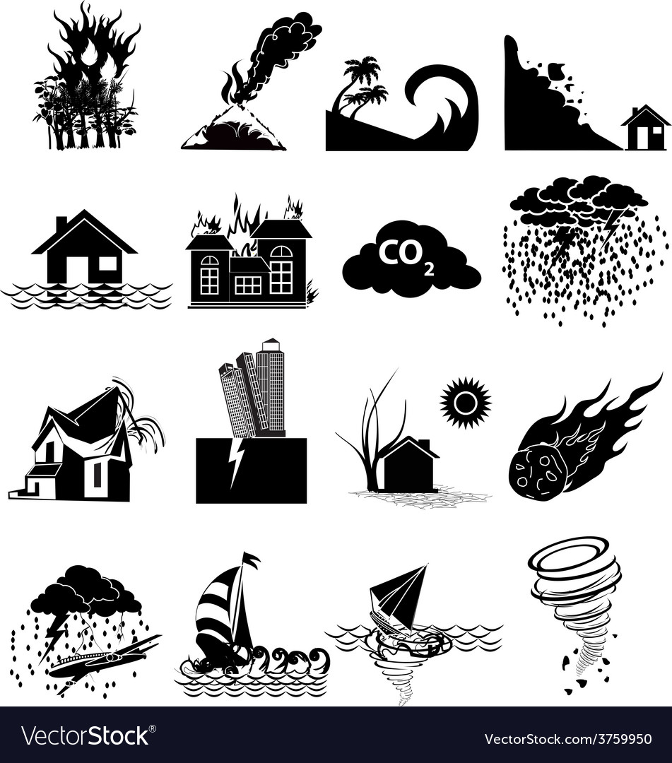 Natural disaster icons set vector | Price: 3 Credit (USD $3)