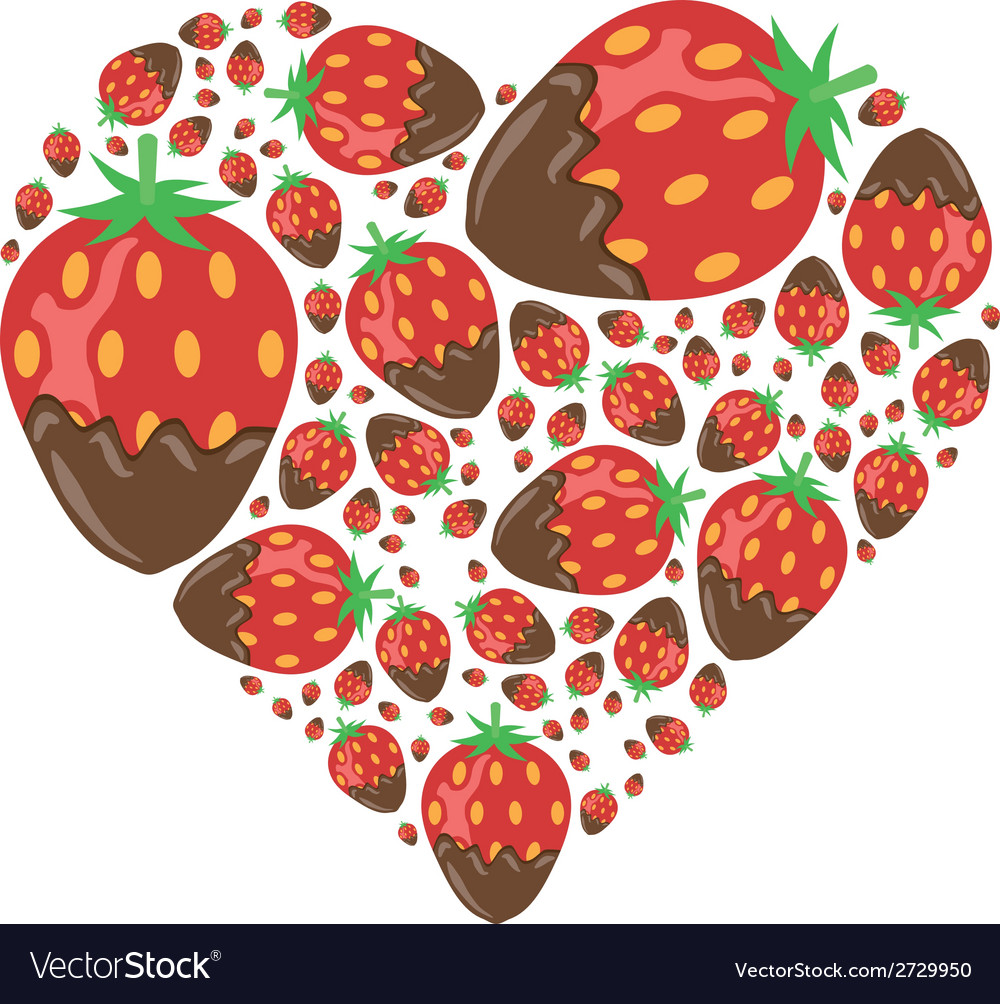 Strawberries in chocolate in heart vector | Price: 1 Credit (USD $1)