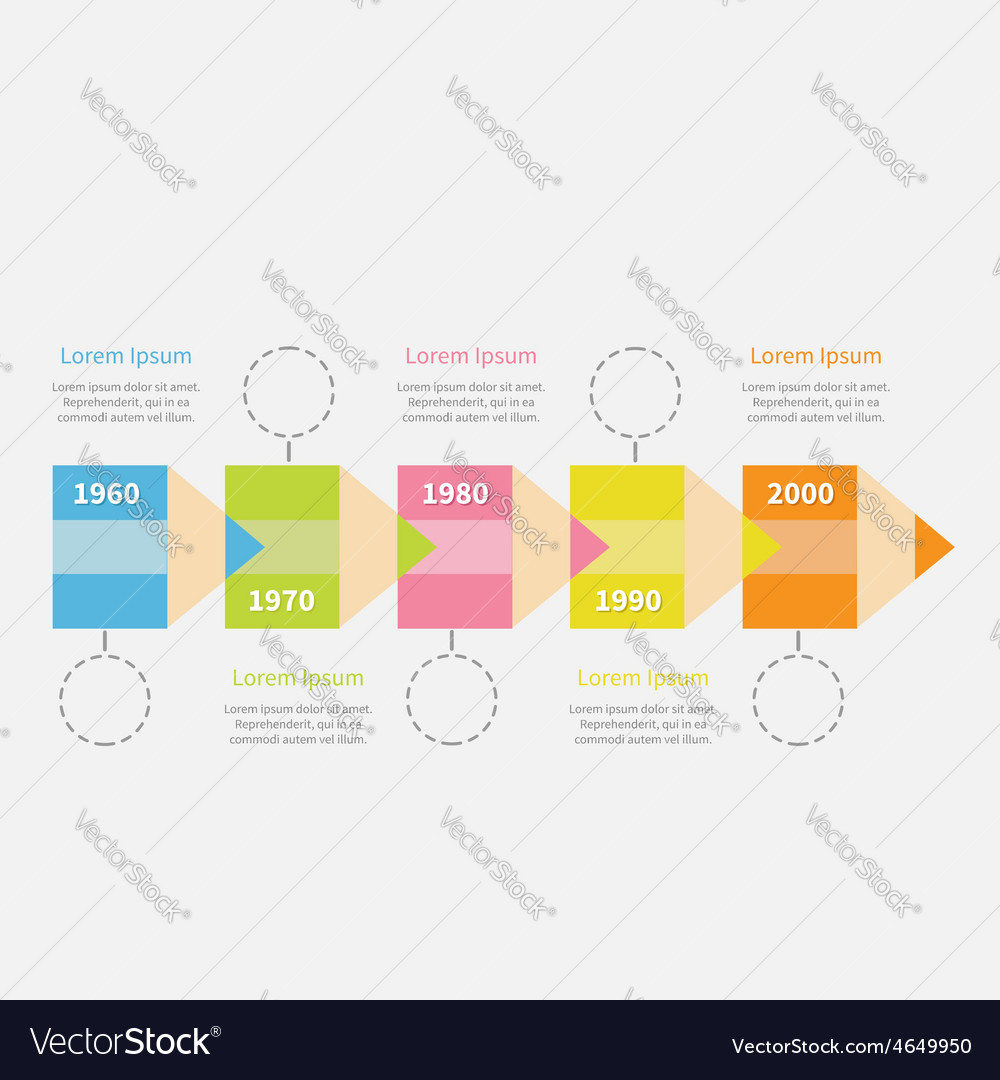 Timeline infographic with colored pencil ribbon vector | Price: 1 Credit (USD $1)