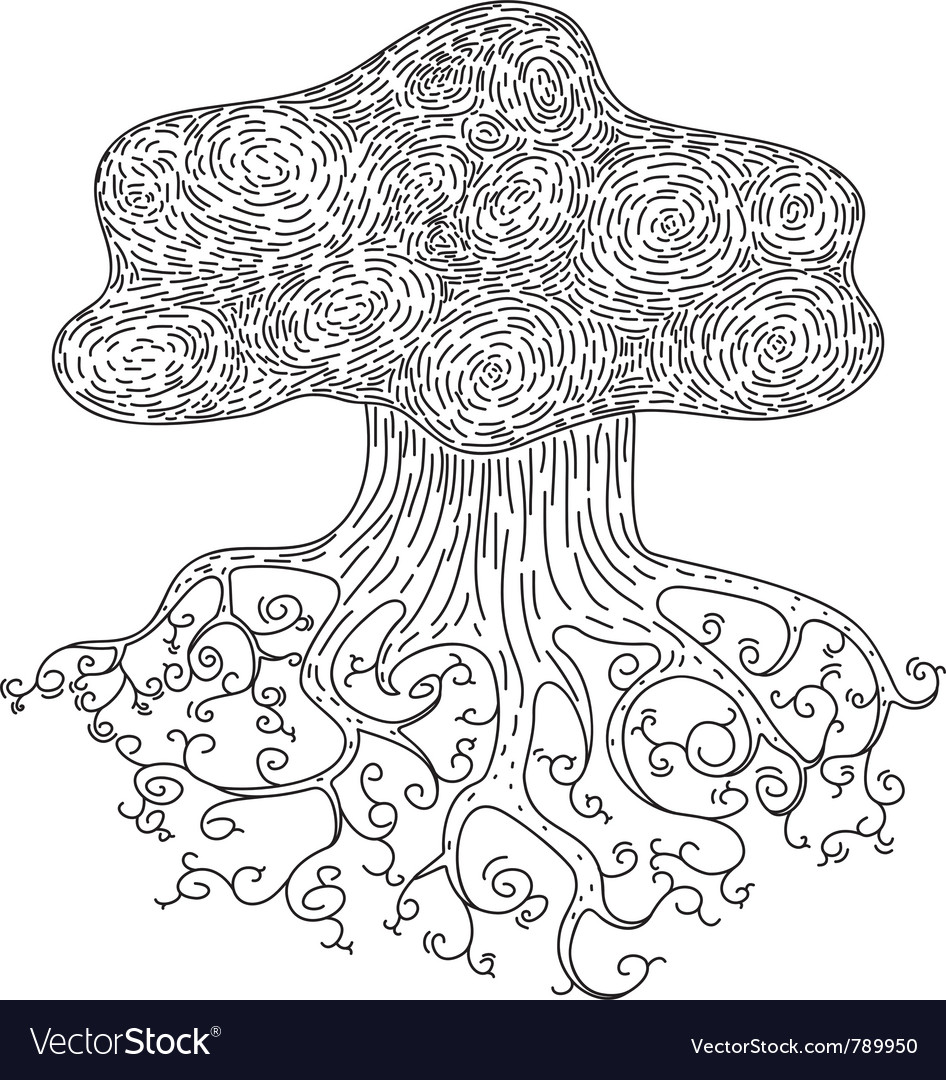 Tree with root vector | Price: 1 Credit (USD $1)