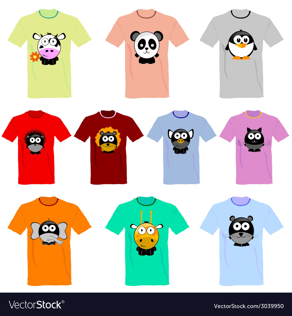 T-shirts with pictures of animals vector | Price: 1 Credit (USD $1)