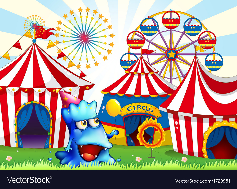 A blue monster near the circus tents vector | Price: 3 Credit (USD $3)