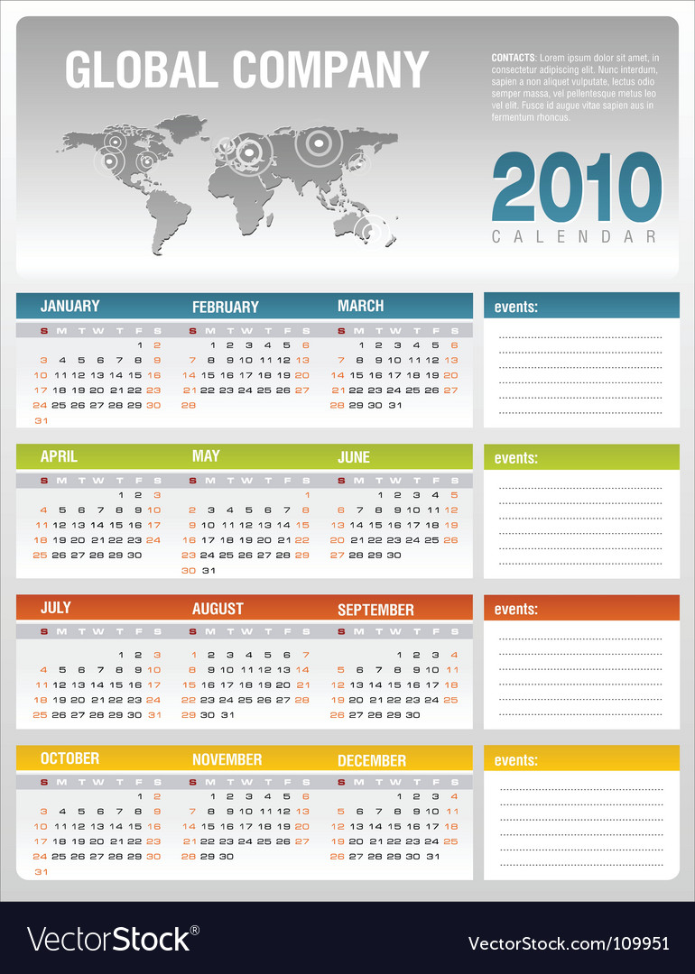 Calendar 2010 vector | Price: 1 Credit (USD $1)
