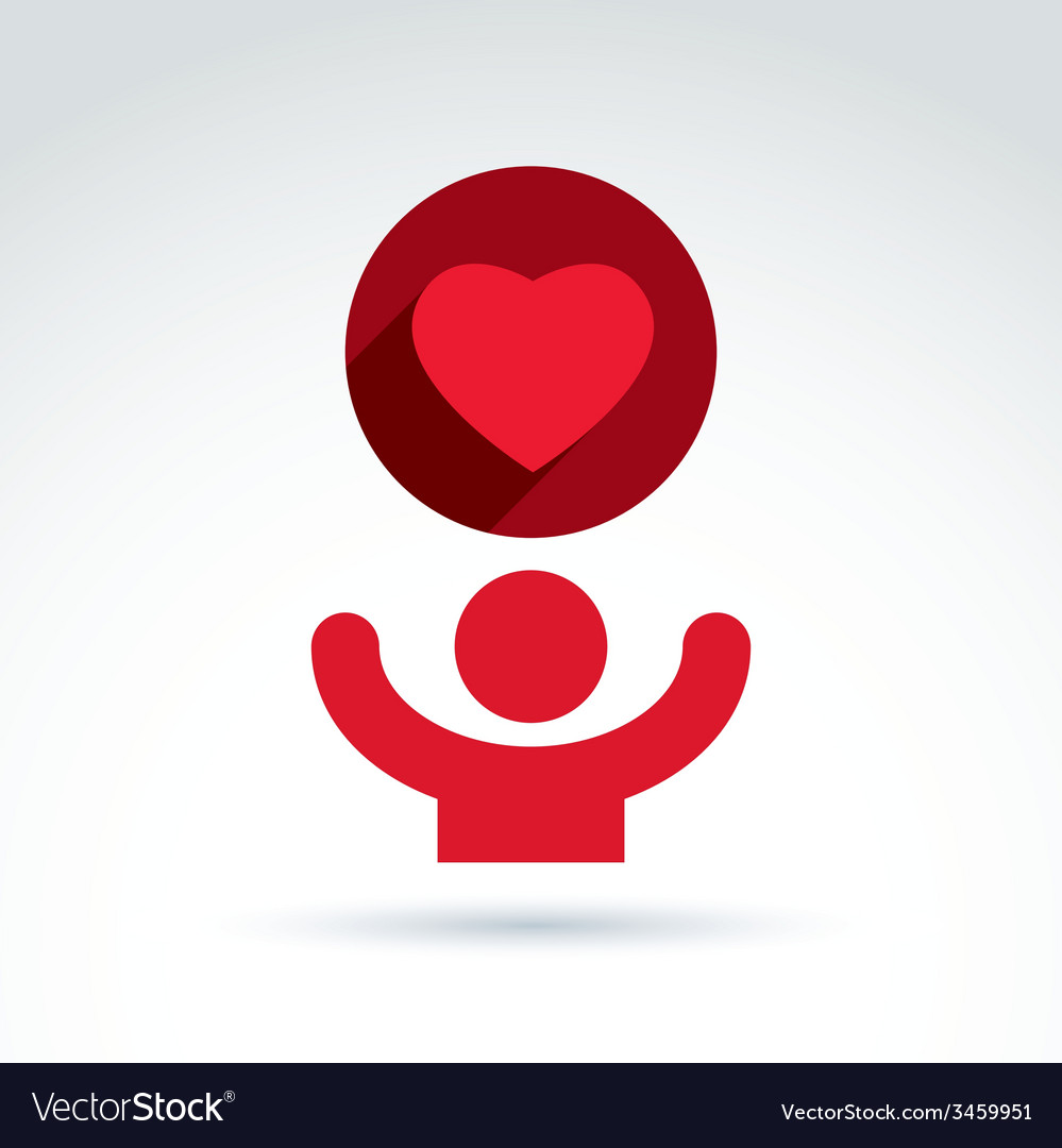 Charity and donation symbol of a red loving vector | Price: 1 Credit (USD $1)