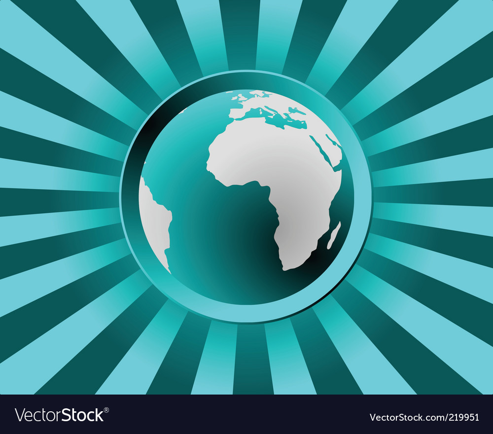 Globe with rays vector | Price: 1 Credit (USD $1)