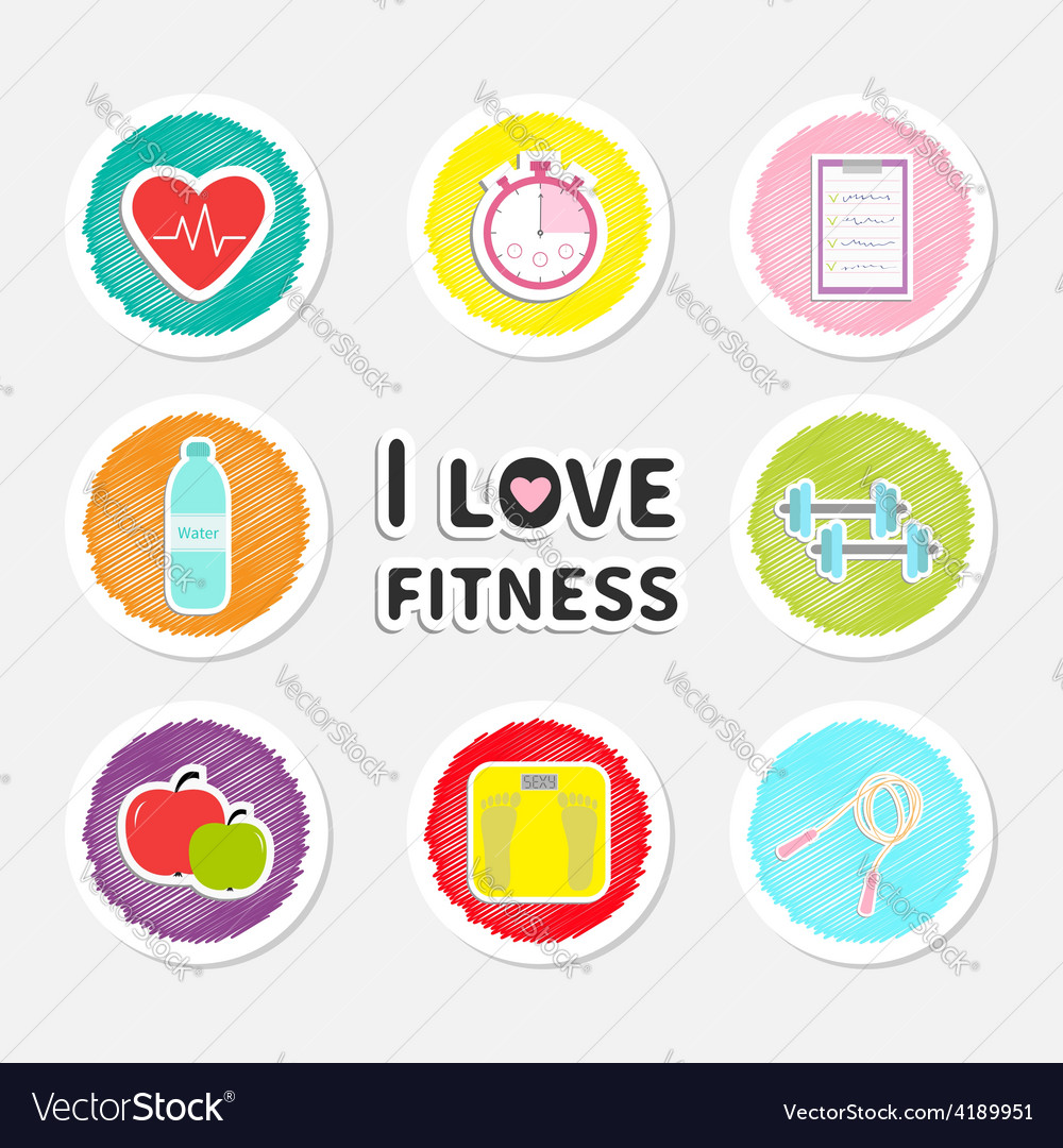 I love fitness round icon set isolated timer water vector | Price: 1 Credit (USD $1)