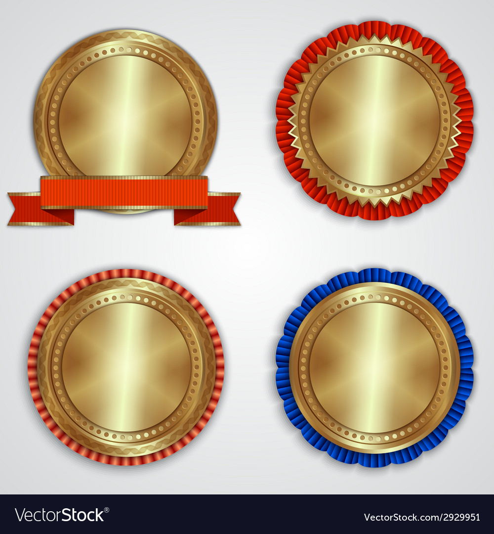 Set of round golden badge labels with ribbons and vector