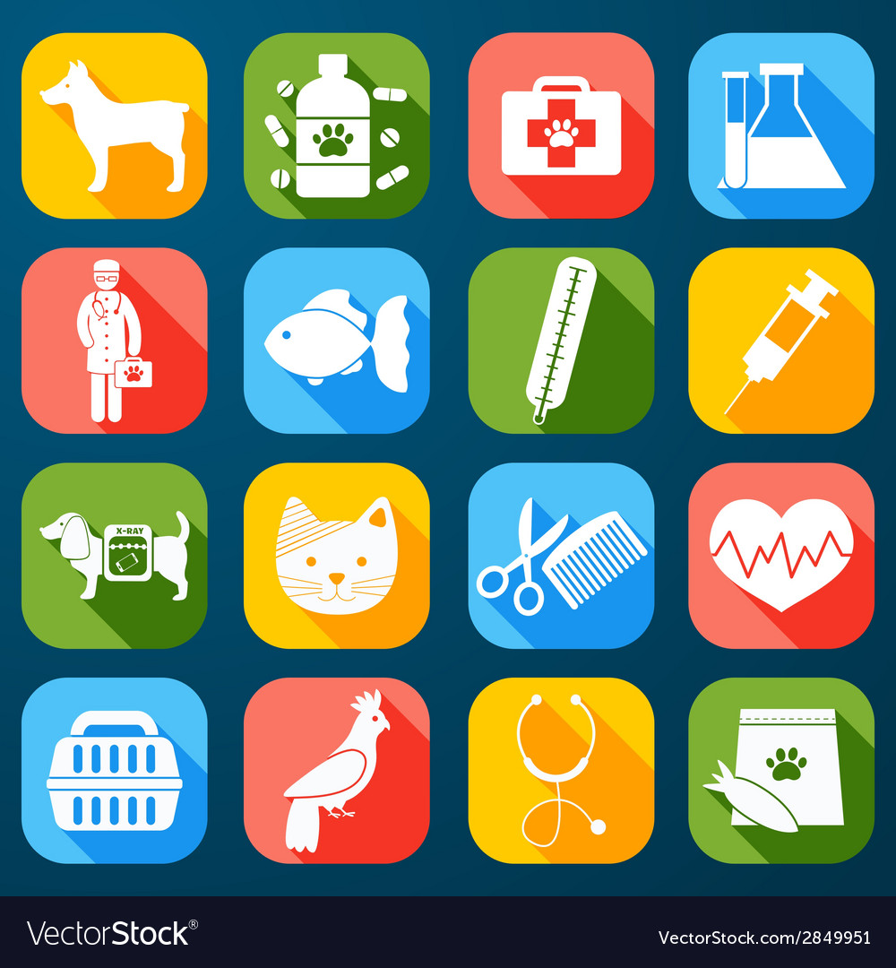 Veterinary icons set vector | Price: 1 Credit (USD $1)