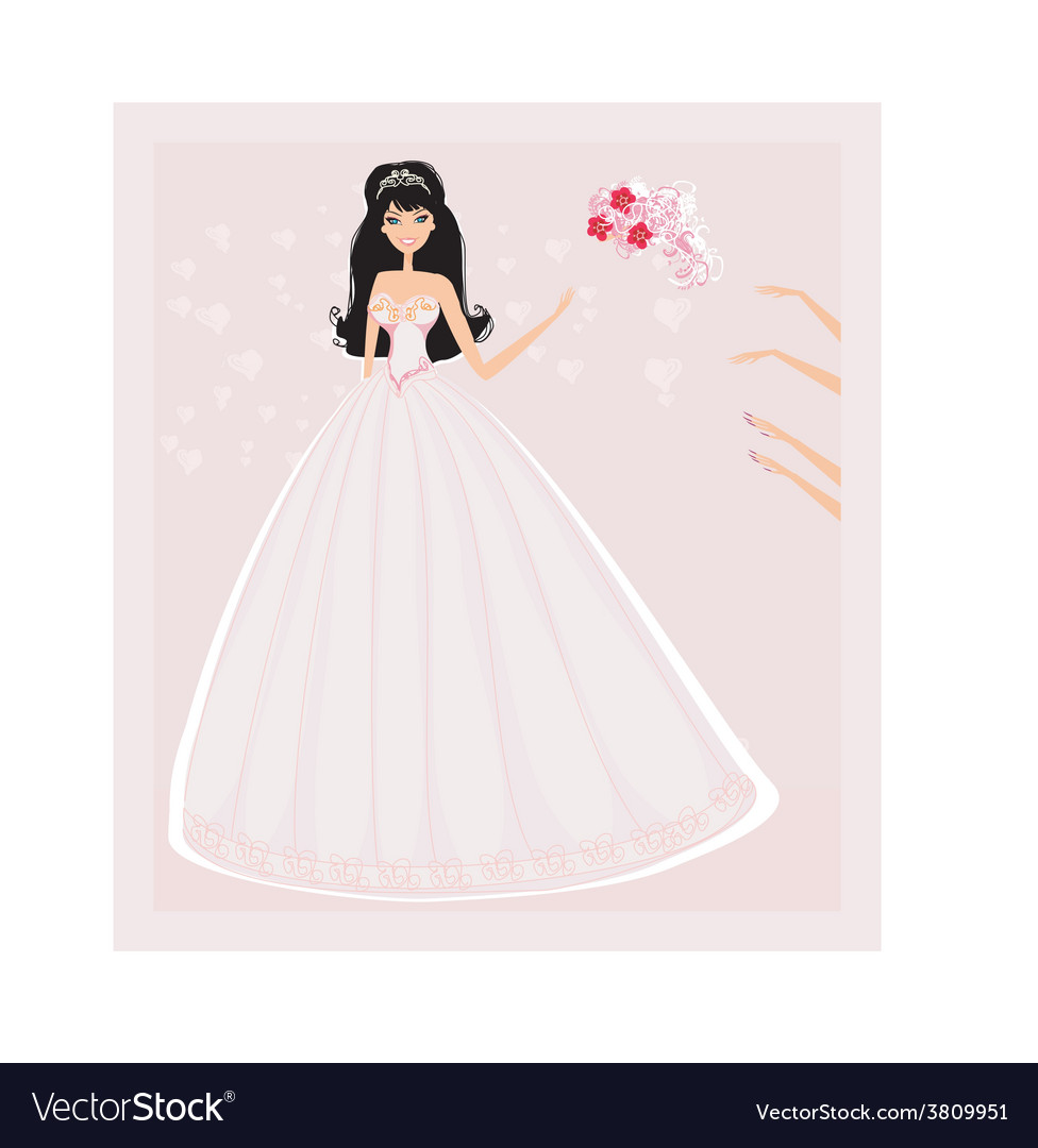 Young bride throwing wedding bouquet to vector | Price: 1 Credit (USD $1)