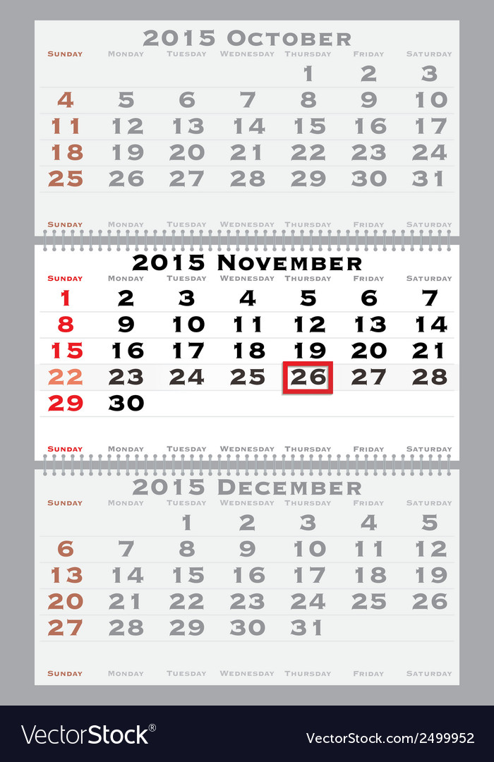 2015 november with red dating mark vector | Price: 1 Credit (USD $1)