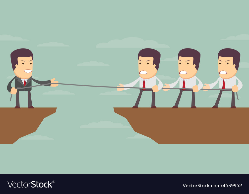 Abstract businessmen tug of war on a cliff vector