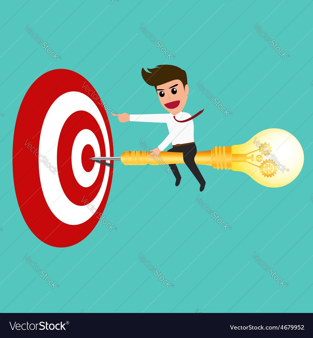 Businessman riding a dart lightbulb to target vector | Price: 1 Credit (USD $1)