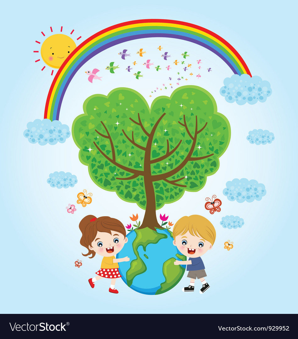 Children earth rainbow vector | Price: 3 Credit (USD $3)