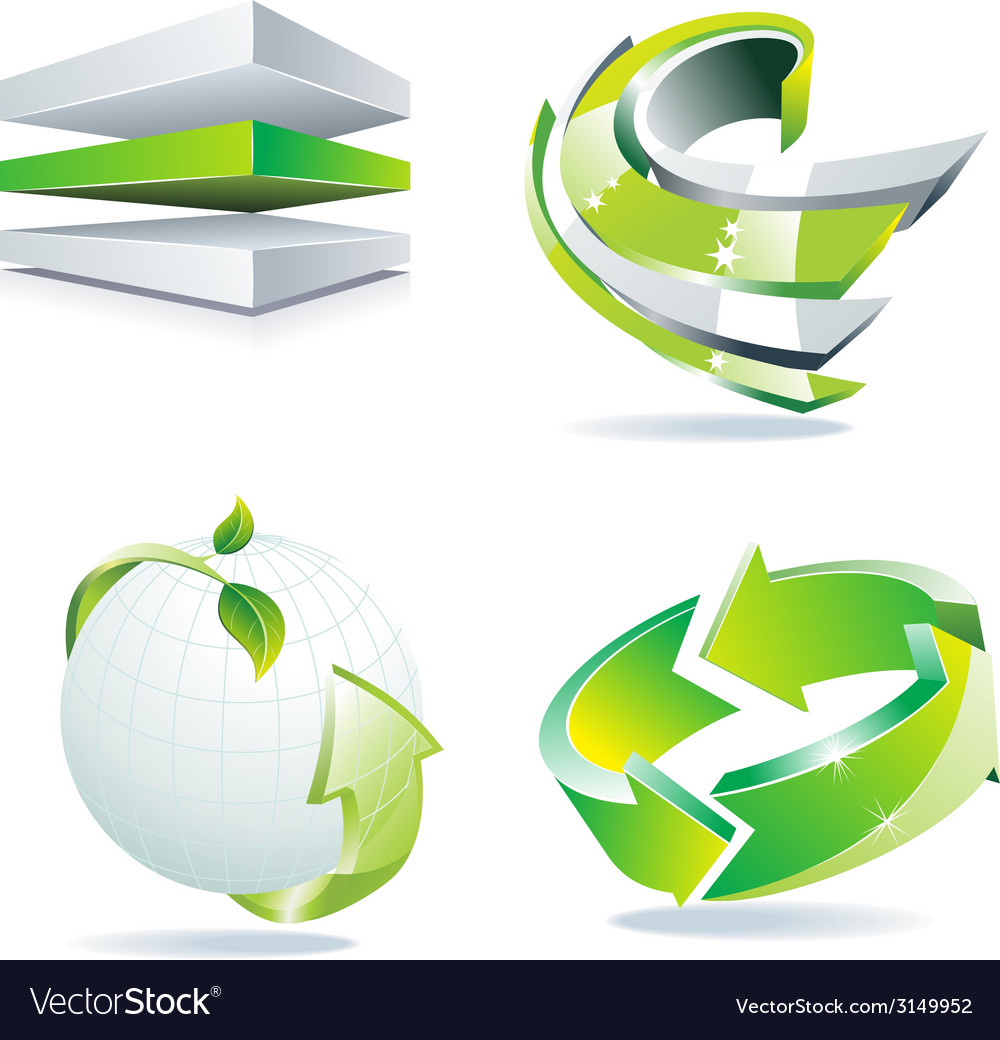 Green 3d dimensional icon vector | Price: 1 Credit (USD $1)