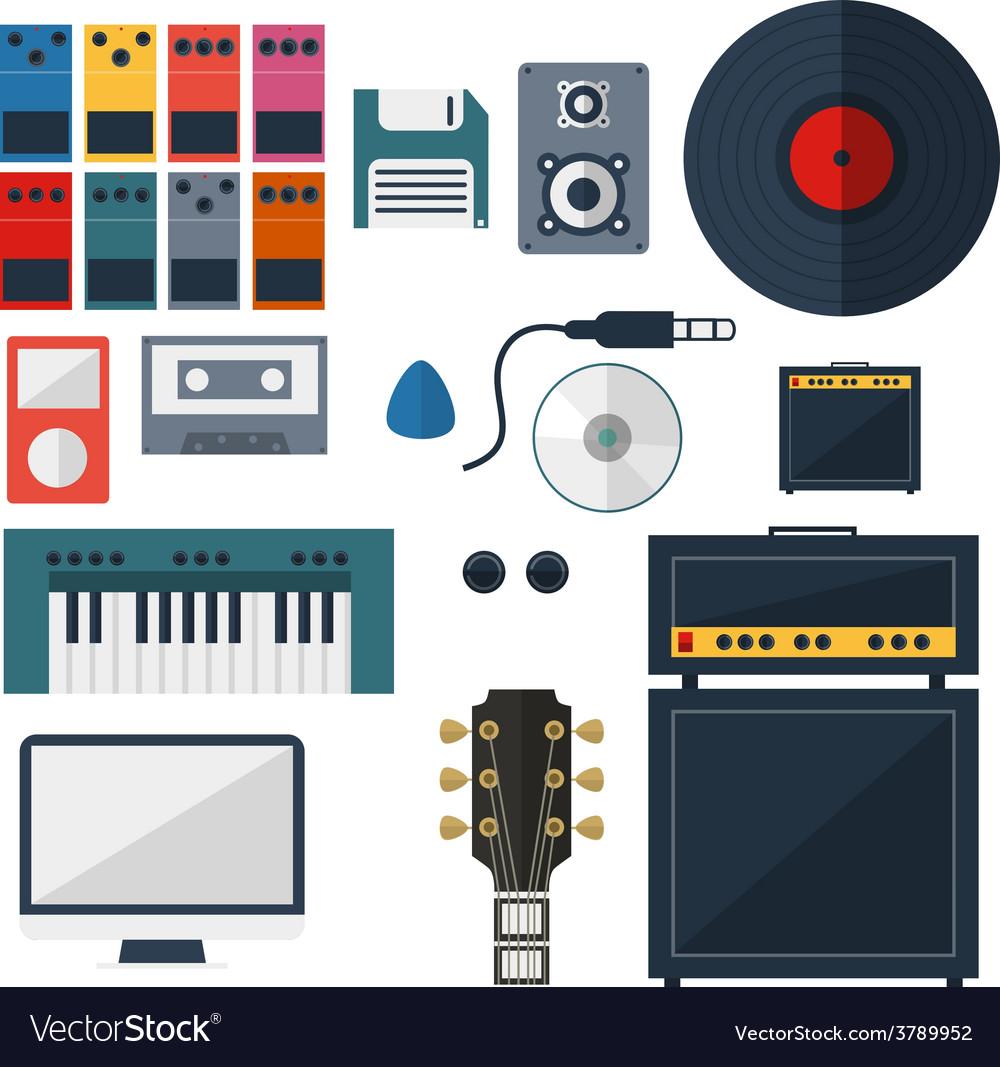 My music studio instrument flat design vector | Price: 1 Credit (USD $1)
