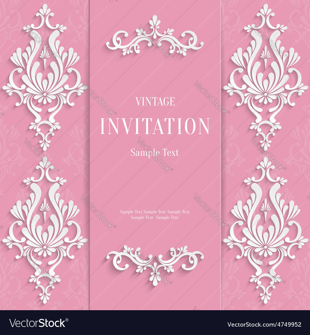 Pink vintage invitation card with 3d floral vector | Price: 1 Credit (USD $1)
